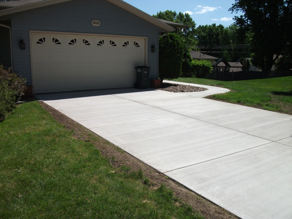New residential concrete driveway.
