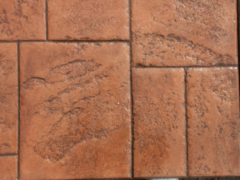 Closeup photo of an Ashlar cut slate concrete stamp.