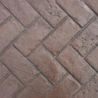 Closeup Photo Of A Herringbone Brick Concrete Stamp.