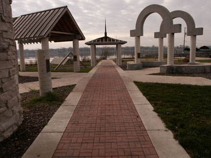 Municipal Concrete - Brick-like stamped concrete walkway in Lindsay Park in Davenport.