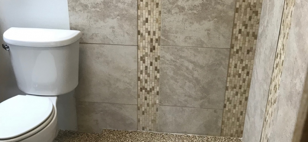 poly coated shower and restroom floor