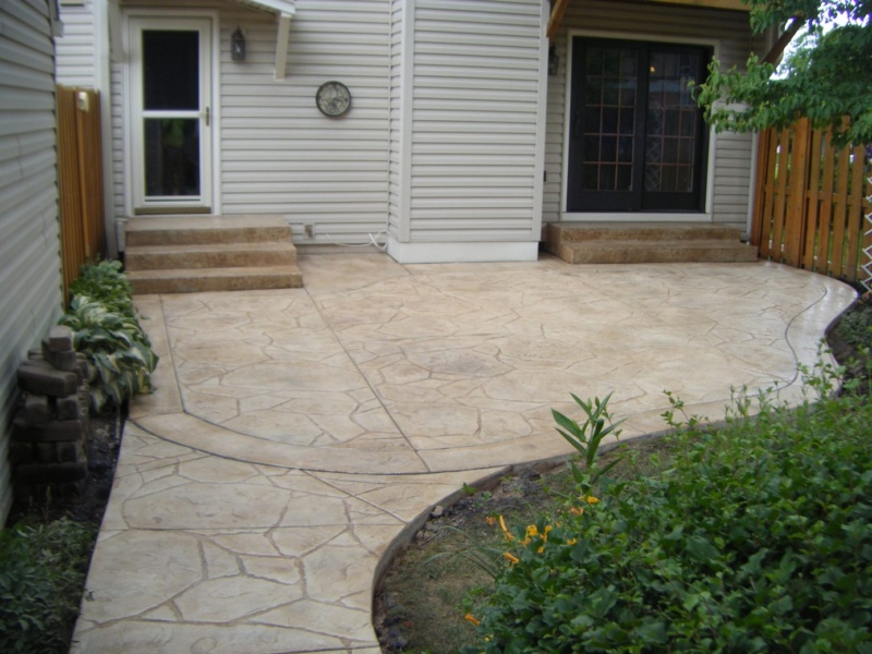 arizona stone textured stamped concrete steps