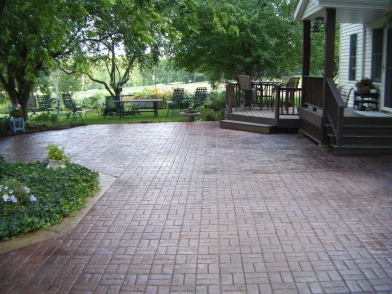 basket weave stamped concrete patio