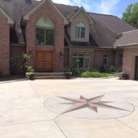 Colored Compass Rose In Decorative Concrete