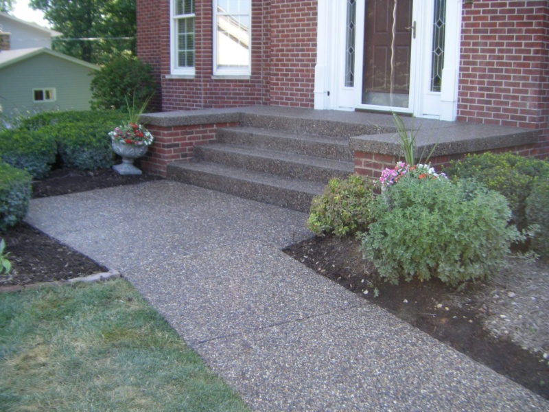 exposed aggregate concrete steps