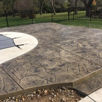 Stone Stamped Pool Deck With Steps