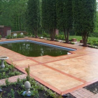 Walkway Slate Pool With Stamped Concrete