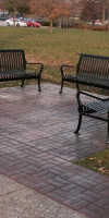 Decorative Concrete In A Park With Benches Atop By Kelly Designs In Concrete